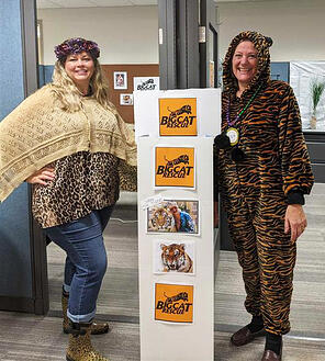(Left) Lisa Boardman, CAA Niagara Associate Director of Travel, and (Right) Lois Sarkisian, Manager, Groups and Tours dress as characters from Tiger King for Halloween.