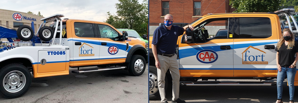 Left: CAA Niagara tow truck branded with FORT Niagara logo in front of the Thorold Branch. Right: Peter Van Hezewyk, President and CEO of CAA Niagara, and Beth Shaw, Executive Director of Foundation of Resources for Teens, at the official truck unveiling event.