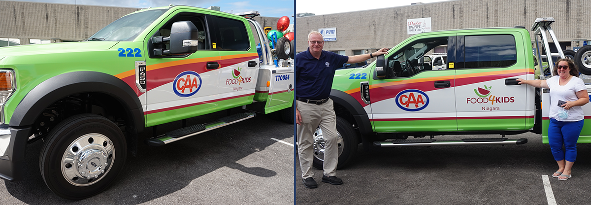 Left:CAA Niagara tow truck branded with Food4Kids Niagara logo.Right:Peter Van Hezewyk, President and CEO of CAA Niagara, and Amber Hughes, Executive Director at Food4Kids Niagara, at the official truck unveiling event.