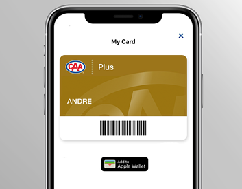 CAA My Card loaded in-app to display Membership number, level and bar code.
