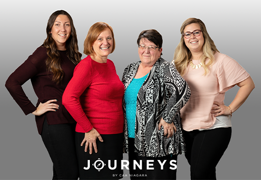 The Journeys Team. From left to right: Rachel, Lois, Danielle and Erin.