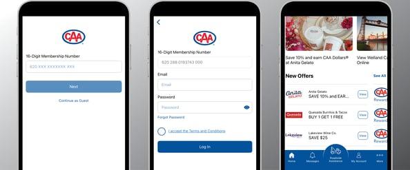 CAA Mobile App Login and Home Screens