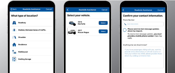 Mobile App Roadside Assistance Process
