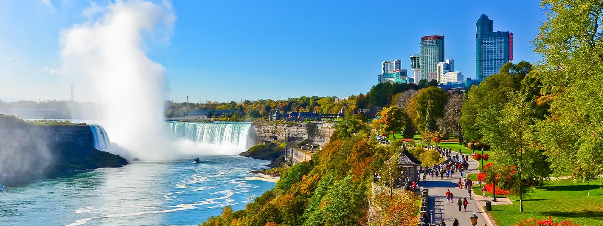 Niagara Falls and Clifton Hill along the Niagara Parkway