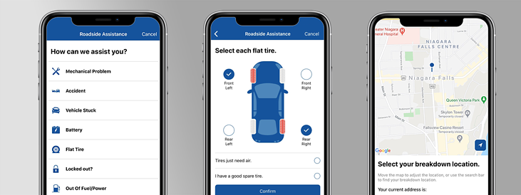 Members can request roadside assistance in the app by selecting their problem, area of the vehicle impacted, and their breakdown location.