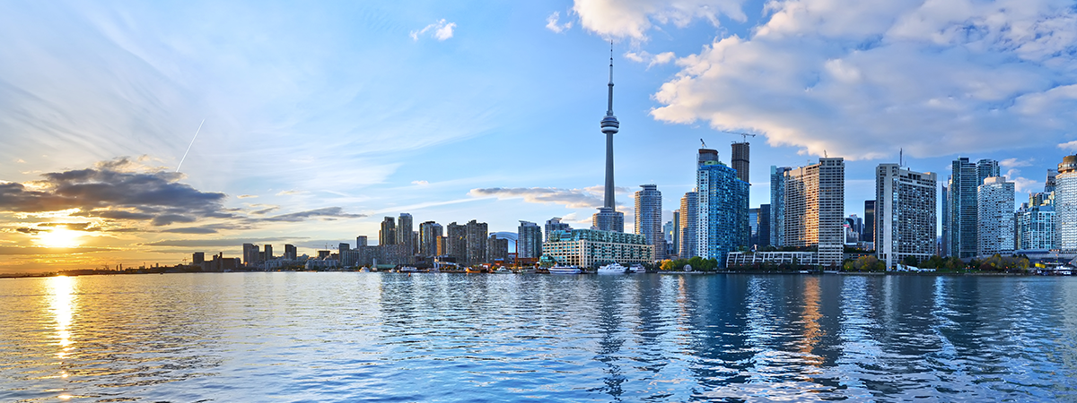 Toronto waterfront and skyline at sunset
