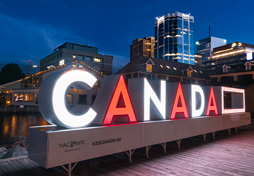 Red and while illuminated CANADA sign
